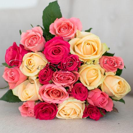 Нежный микс, купить цветы Тольятти, доставка цветы в Тольятти, разноцветная роза, Cvet-pro