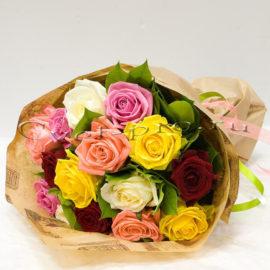 15 роз микс, купить цветы Тольятти, доставка цветов в Тольятти, роза микс, Cvet-pro