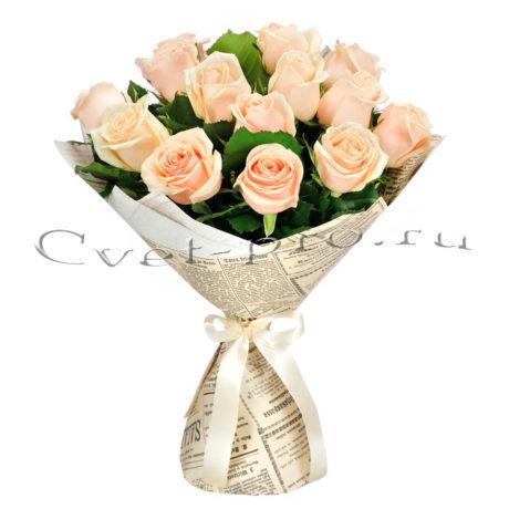 Букет Кремовый узор, купить цветы Тольятти, доставка цветов в Тольятти, кремовая роза, Cvet-pro