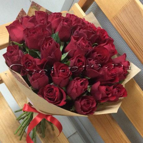 Букет Красная помада, купить цветы Тольятти, доставка цветов в Тольятти, букет 35 красных роз, Cvet-pro
