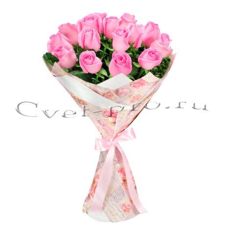 Букет Моя малышка, купить цветы Тольятти, доставка цветов в Тольятти, 15 розовых роз, Cvet-pro