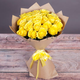 Букет Голден, купить цветы Тольятти, доставка цветов Тольятти, желтая роза, Cvet-pro