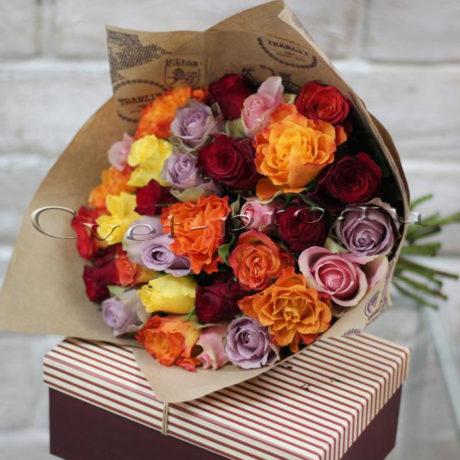 Букет Радуга, купить цветы Тольятти, доставка цветов в Тольятти, разноцветная роза, Cvet-pro