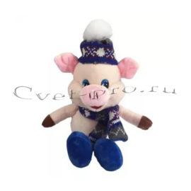Мягкая игрушка Поросёнок в шапке, купить цветы Тольятти