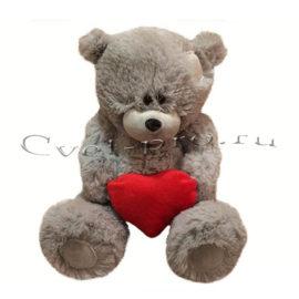 Мягкая игрушка Мишка с сердцем, купить цветы Тольятти