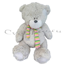 Мягкая игрушка Серый медведь с шарфиком, купить цветы Тольятти