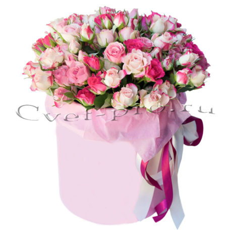 Цветы в коробке Карибский закат, купить цветы Тольятти