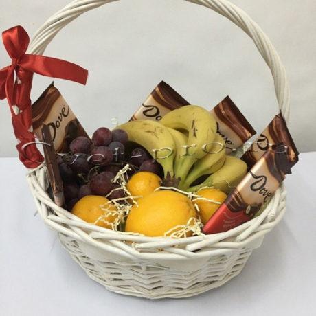 Корзина фруктов Фрукты с шоколадом, купить цветы Тольятти, доставка цветов Тольятти