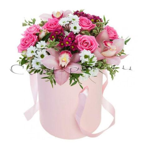 Цветы в коробке Венский кофе, купить цветы Тольятти