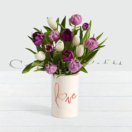 Букет 15 белых, розовых и фиолетовых тюльпанов • Купить цветы Тольятти