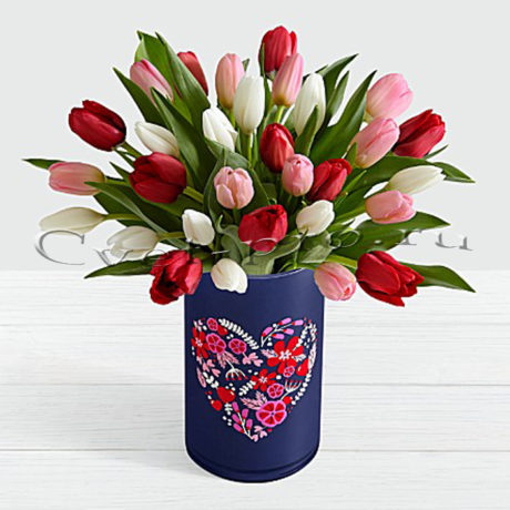 Букет 31 разноцветный тюльпан • Купить цветы Тольятти